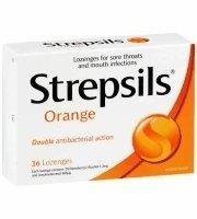 (Strepsils Orange and Vit C Cough Pill Relieve Sore Throat)