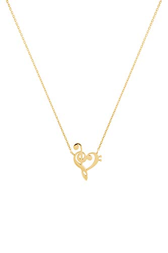Gold Treble And Bass Clef Necklace, Music Gold Charm, Gold Heart Pendant, 14K Gold Necklace, Yellow Gold, Optical Illusion Charm, Romantic Gift For Her/code: 0.002