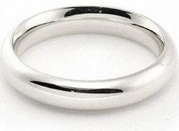 14k White Gold 4mm Comfort Fit Dome Wedding Band Heavy Weight - Size 4.75