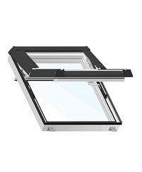 Dachfenster 940 mm (B) x 1180 mm (H) Kunststoff PVC weiß Blechteile braun wellige Dacheindeckung