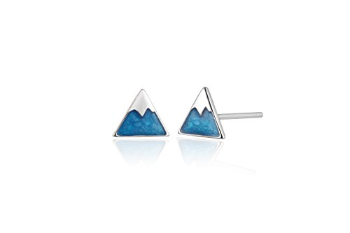 Reu Jewelry Sterling Sliver Aqua Blue Retro Triangle Stud Earrings Daily Collocation (18k white-gold-plated-silver)