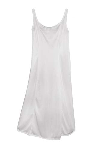 Little Things Mean A Lot Girls White Simple Princess Style Tea Length Nylon Slip with Adjustable Straps - 6X/7