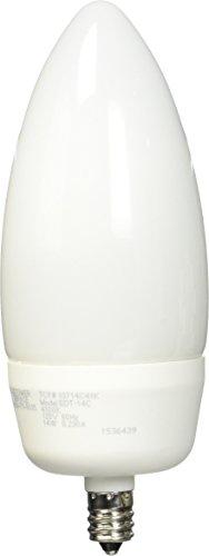 TCP 60 Watt Equivalent Single-Pack, CFL Decorative Torpedo Chandelier Light Bulb, Candelabra Base, Non-Dimmable, Bright White 10714C41K
