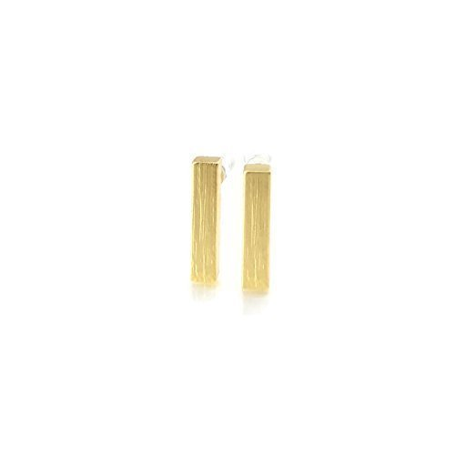 Invisible Clip On Gold-Tone Minimalist Bar Earrings for Non-Pierced Ears, 12mm