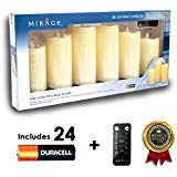 Mirage 6-Piece LED Flameless Wax Candles - Includes 24 Duracell Batteries and Remote Control - The Look of a Real Flame