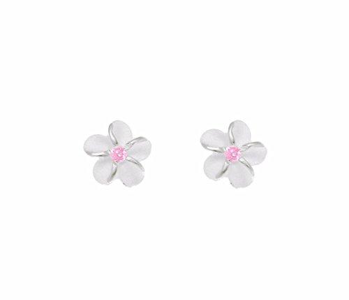 - Sterling silver 925 Hawaiian plumeria flower post stud earrings 6mm pink cz