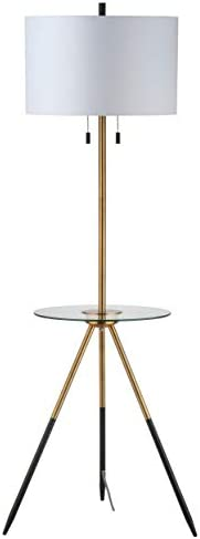 Safavieh FLL4020A Home Collection Morrison Brass Gold and Black Side Table Floor Lamp