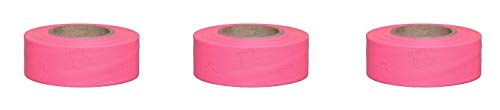 Presco TX1PG-658 150' Length x 1'' Width, PVC Film, Texas Pink Glo Solid Color Roll Flagging (Pack of 100) (2-(Pack)) by Presco