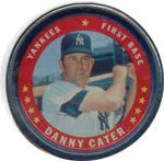 1971 Topps Topps Coins (Baseball) Card# 14 Danny Cater of the New York Yankees Ex Condition