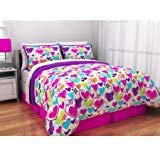 (Latitude Teen Reversible Bright Pink, Purple, White Hearts Bedding Full Comforter for Girls (5 Piece in a Bag))