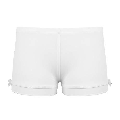 (FEESHOW Girls Stretch Gymnastics Ballet Dance Booty Shorts Underwear Gym Yoga Sports Cycling Running Shorts Bow Ivory)