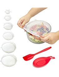 6 Pack Silicone Stretch Lids - Fits Various Sizes and Container Shapes - Expandable, Reusable, Durable, Non-Stick Storage Covers for Keeping Food Fresh - Silicone Spatula and Spoon Rest Included