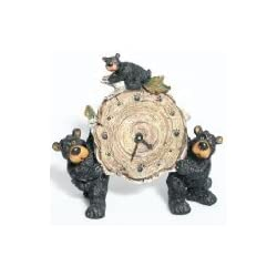 Willie Black Bear with Cub Holding a Birch Log Clock 8