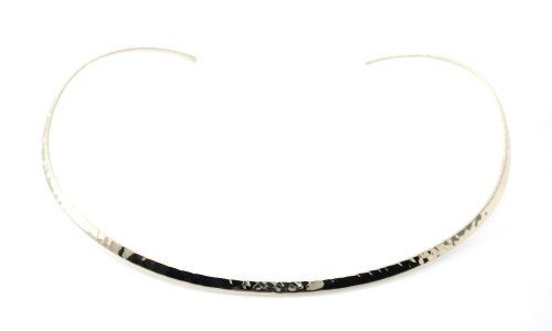 Silver Hammered Collar - Mary Grace Design MGD, 3 MM Wide Hammered Finished Neckwire,Silver Tone Base,Adjustable Collar Choker One Size Fit All,Fashion Jewelry for Women,JE-0082N