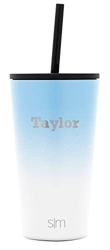 Simple Modern Personalized Gift Tumbler Custom, Classic 16oz - Straw & Flip Lid, Ombre: Santorini Breeze