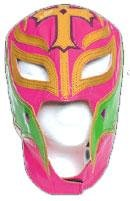 [WWE Official Rey Mysterio Youth Size Pink, Green, Gold Wrestling Mask Licensed] (Wwe Girl Costumes)