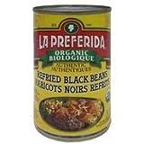 La Preferida Org Refried Black Beans Cn, 398 ml (Pack of 12)