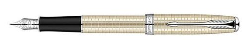 Parker Cisele Silver with Palladium-plated Trim, Fountain Pen, Medium solid gold nib with Black ink (1774615)