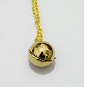 Shiny Gold Secret Message Locket - Vintage Gold Ball Locket Necklace - Stocking Stuffer (Antique Gold Shiny Ball)