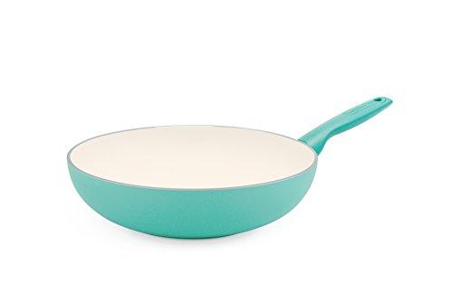 """GreenPan Rio 11"""" Ceramic Non-Stick Open Wok, Turquoise"""