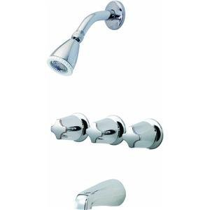Pfister Bedford 3-Handle Tub & Shower Faucet with Metal Verve Knob Handles, Polished Chrome