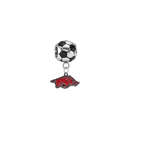 Arkansas Razorbacks Soccer 3D Universal European Bracelet Charm ()