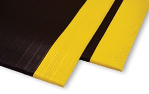 Antifatigue Mat - Workplace Comfort Safety Mat - ''AirLift Standard'' - 3/8'' Thick - 02' x 03' - Textured Surface - Yellow Stripe
