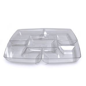 Maryland Plastics Clear Square Plastic Compartment Serving Tray 12-Inch... ()