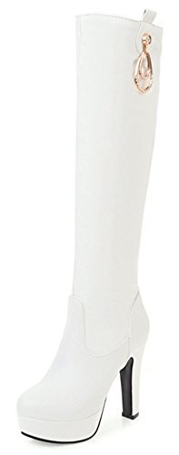 Women's Round Heel Platform High on Chunky White Aisun Fashion High Pendant Toe Pull Boots Knee TFdwwxUq