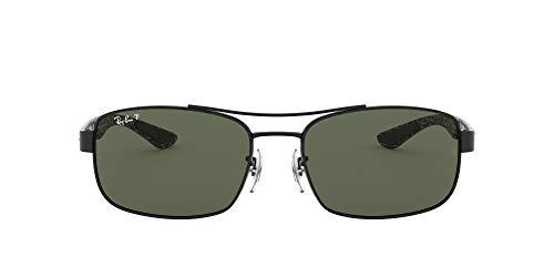 Ray-Ban RB8316 Rectangular Carbon Fiber Sunglasses, Black/Polarized Green, 62 ()