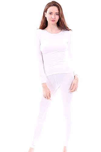 Women's Microfiber Fleece Thermal Underwear Long Johns Set AZ 2000 White XXL (Pants Microfiber Wind)