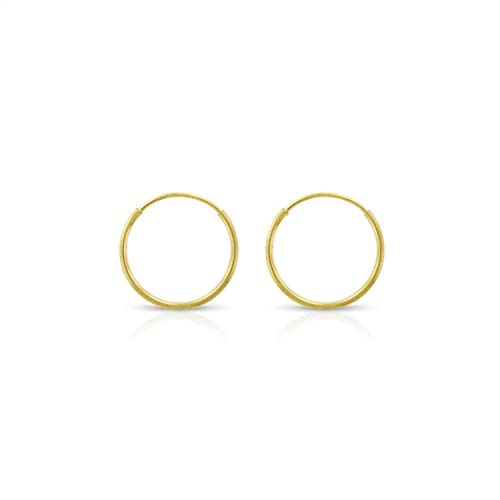 14k Solid Gold Endless Hoop Earrings Sizes 10mm - 20mm and 3-Pair Sets, 14k Gold Thin Hoop Earrings, Cartilage Earrings, Helix Earring, Nose Hoop, Tragus Earring, 100% Real 14k Gold (10mm)
