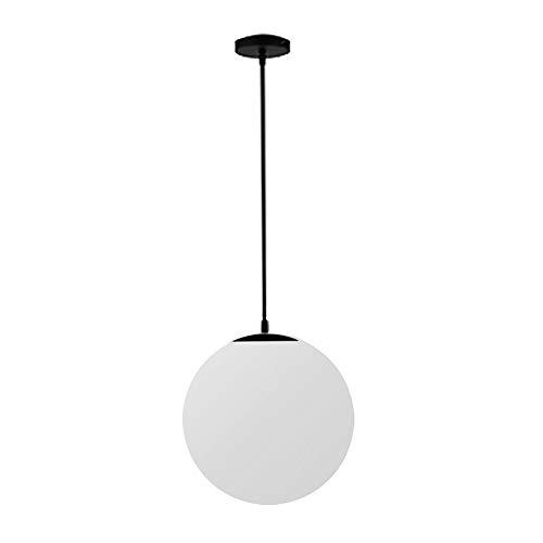Modern Pendant Light,Milk White Glass Globe Shade Loft Ceiling Pendant Lamp Hanging Lighting with Chrome E27 Base for Home Office Bedroom Coffee Shop (Black, 15cm)