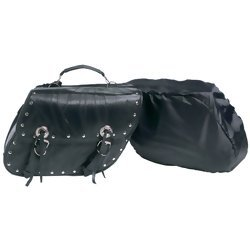 - Diamond Plate 2pc Rock Design Genuine Buffalo Leather Motorcycle Saddlebag Set