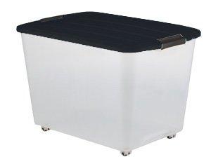 60 litros caja de plástico, caja de plástico transparente, cajas con ruedas y asa