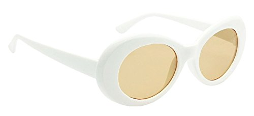 WebDeals - Oval Round Retro Sunglasses Color Tint or Smoke Lenses (White, - Tint On Glasses