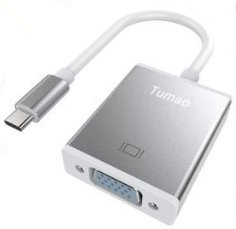 Tumao USB-C to VGA Adapter, Type C USB 3.1 to VGA Video Converter Cable with 1080 HD Resolution for New MacBook 12 Inch 2015,Google Chromebook Pixel and More (USB-C to VGA) T000065-W