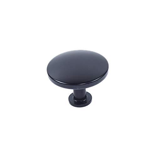 - 4 Pack Century Round Knob, Matte Black, 38mm Dia, Round knobs for Dresser, Modern Geo 10628-MB