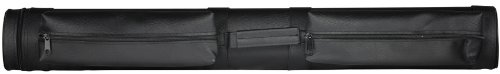 LUCASI Premium Quality Leatherette Pool Cue Case with Pockets – 2 Butt, 2 Shaft Color: Black