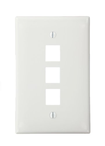 - Leviton 41091-3WN QuickPort Midsize Wallplate, Single Gang, 3-Port, White