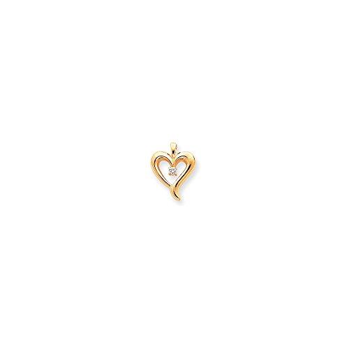 Jewelry Adviser Pendants 14k AA Diamond heart pendant Diamond quality AA (I1 clarity, G-I