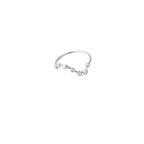 HONEYCAT Sterling Silver Plated Crystal Constellation Stars Ring | Minimalist, Delicate Jewelry (Big Sky Silver Jewelry)