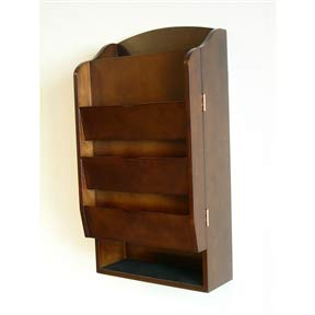 Door/Wall Mount Organizer Letter Holder Mail Sorter in Dark Walnut Holder Letter File Organizer Size Office ()