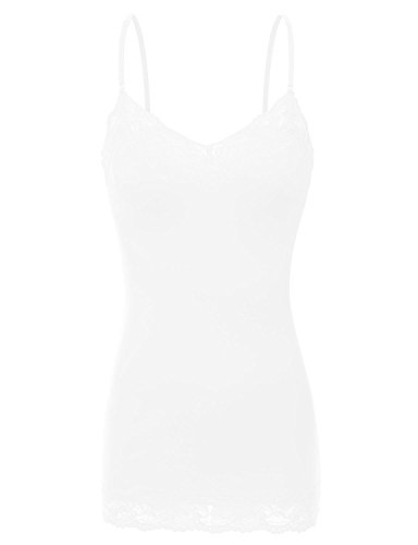 - XT1004L Ladies Adjustable Spaghetti Strap Lace Trim Long Tunic Cami Tank Top White 2XL