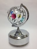 Chrome Plated Spinning Globe Music Box.... With Mixed Colors of Austrian Crystals (Globe Mascot Musical)
