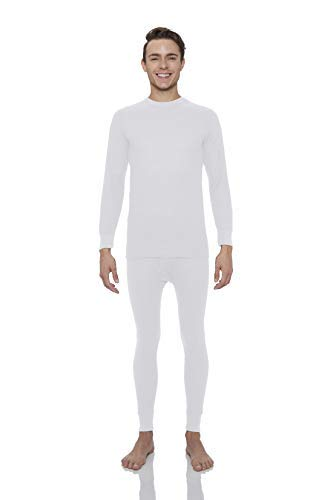 Rocky Men's Thermal 2pc Set Long John Underwear Large White ()