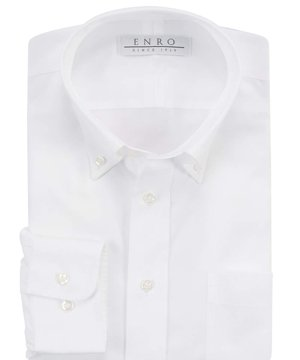 Enro Non-Iron Cotton Button Down Collar Dress Shirt 22 x 34/35 White ()