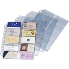 Cardinal Business Card Refill Sheets - Cardinal EasyOpen Card File Binder Refill Page - 200 Card Capacity - Letter 8.5amp;quot; x 11amp;quot; - 1 / Each - Clear