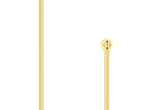 100 Goldplated Brass Ball Pins 2 Inches Long Headpin with 1.5Mm Ball Tip 23Gauge by Aveshop