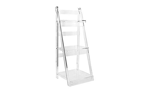 (Clear Acrylic Ladder Shelf – Elegant Lucite Bookcase and Display Stand for Livingroom, Office or Bedroom – by Designstyles)